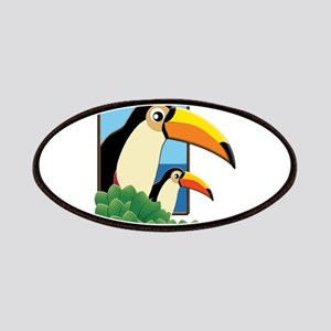 Mom and Baby Toucans in Tropical Window Patches