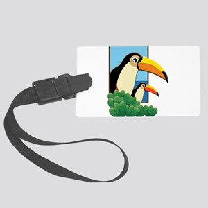 Mom and Baby Toucans in Tropical Large Luggage Tag