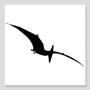 """Pterodactyl Silhouette Square Car Magnet 3"""" x 3"""""""
