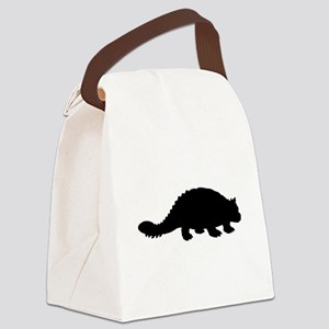 Ankylosaurus Silhouette Canvas Lunch Bag