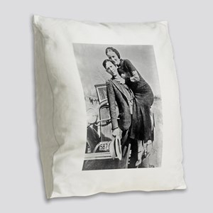 bonnie and clyde Burlap Throw Pillow