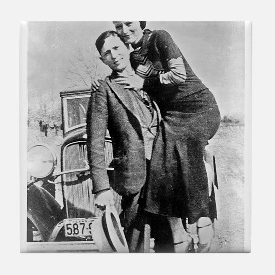 bonnie and clyde Tile Coaster