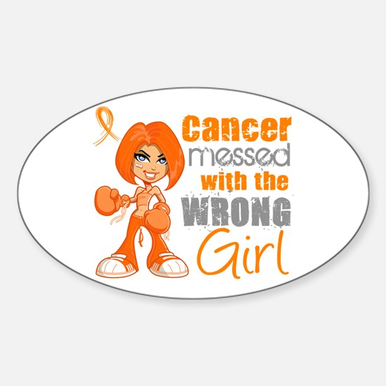 Leukemia Messed With Wrong Girl Sticker (Oval)