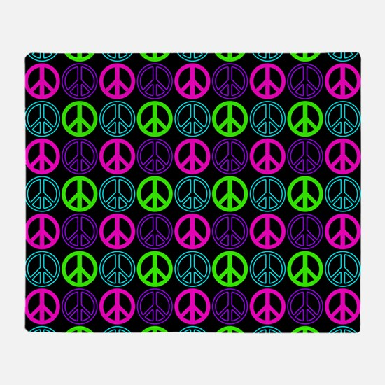 Peace Signs Multi Neon Pattern Throw Blanket