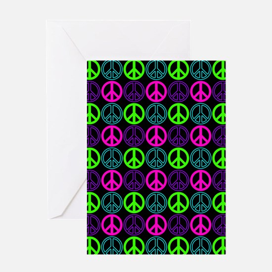 Peace Signs Multi Neon Pattern Greeting Card