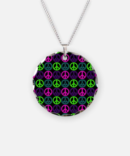 Peace Signs Multi Neon Patte Necklace Circle Charm