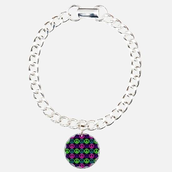 Peace Signs Multi Neon P Charm Bracelet, One Charm