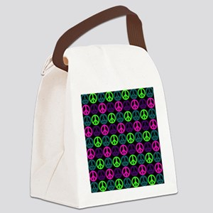 Peace Signs Multi Neon Pattern Canvas Lunch Bag