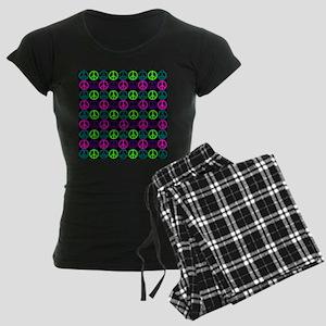 Peace Sign Multi Neon Colors Women's Dark Pajamas