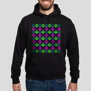 Peace Sign Multi Neon Colors Hoodie (dark)
