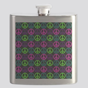 Peace Sign Multi Neon Colors Flask