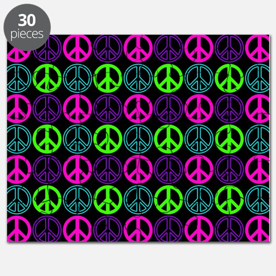 Peace Sign Multi Neon Colors Puzzle