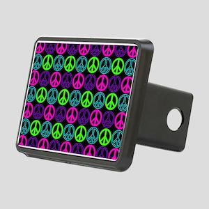 Peace Sign Multi Neon Colo Rectangular Hitch Cover