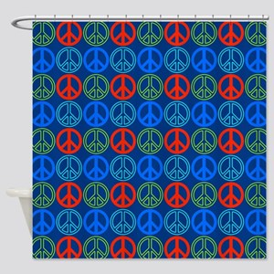 Peace Signs Multi Blue Pattern Shower Curtain