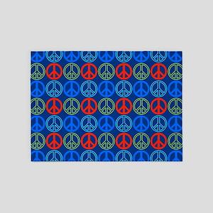Peace Signs Multi Blue Pattern 5'x7'Area Rug