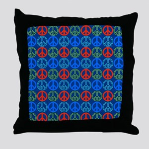 Peace Signs Multi Blue Pattern Throw Pillow