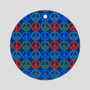 Peace Signs Multi Blue Pattern Ornament (Round)