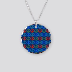 Peace Signs Multi Blue Patte Necklace Circle Charm