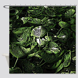 Lilypad Woodcut Shower Curtain