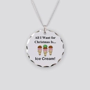 Christmas Ice Cream Necklace Circle Charm
