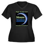 MouseStation Women's Plus Size V-Neck Dark T-Shirt