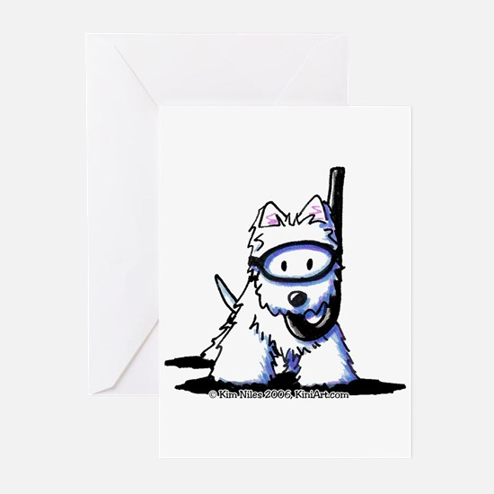Scuba Westie Greeting Cards (Pk of 10)