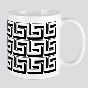 Greek Key White on Black Pattern Mug