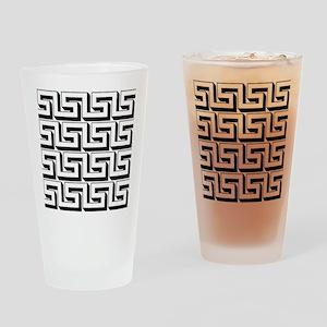 Greek Key White on Black Pattern Drinking Glass