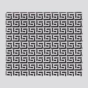 Greek Key White on Black Pattern Throw Blanket