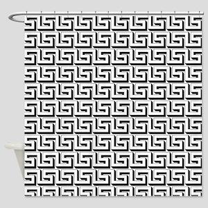 Greek Key White on Black Pattern Shower Curtain