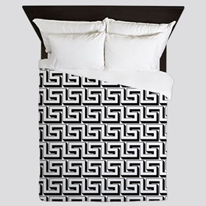 Greek Key White on Black Pattern Queen Duvet