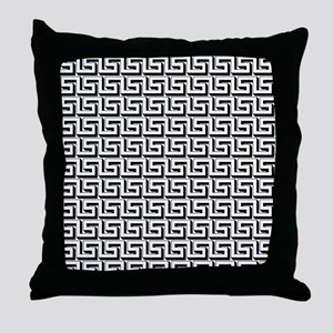 Greek Key White on Black Pattern Throw Pillow