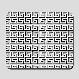 Greek Key White on Black Pattern Mousepad