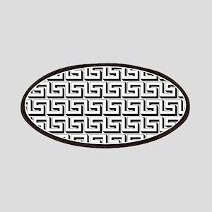 Greek Key White on Black Pattern Patches