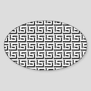Greek Key White on Black Pattern Sticker (Oval)