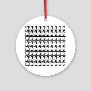 Greek Key White on Black Pattern Ornament (Round)