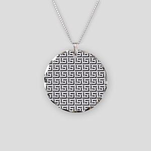 Greek Key White on Black Pat Necklace Circle Charm