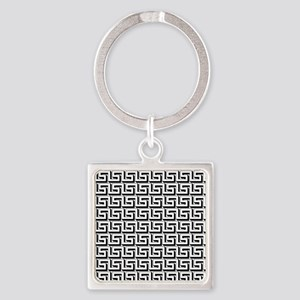 Greek Key White on Black Pattern Square Keychain
