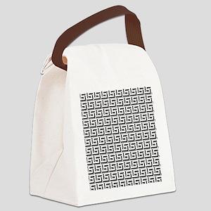 Greek Key White on Black Pattern Canvas Lunch Bag