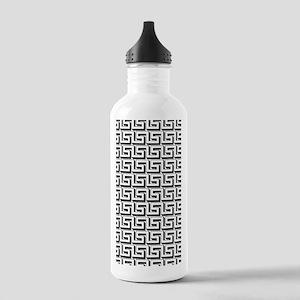 White on Black Greek K Stainless Water Bottle 1.0L