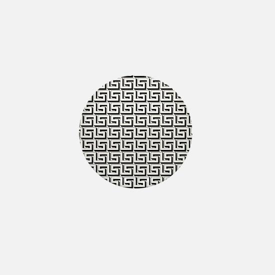 White on Black Greek Key Pattern Mini Button