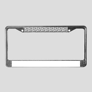 White on Black Greek Key Patte License Plate Frame