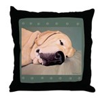 Yellow Labrador Dog Sleeps Throw Pillow