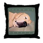 Yellow Labrador Dog Sleeps Throw Pillow