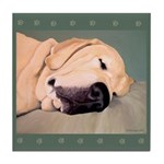 Yellow Labrador Dog Sleeps Tile Coaster