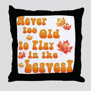 Playing in Leaves Throw Pillow