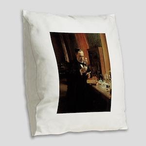 louis pasteur Burlap Throw Pillow
