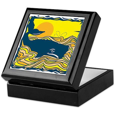 Swimming in Waves Whale Design Keepsake Box