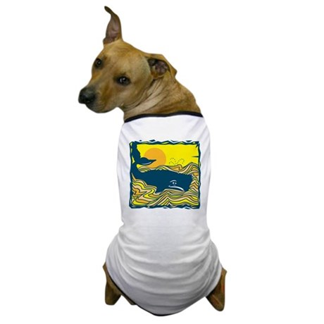 Swimming in Waves Whale Design Dog T-Shirt