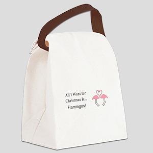 Christmas Flamingos Canvas Lunch Bag